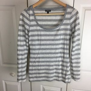 Express Grey White Lace Striped Long Sleeve Shirt